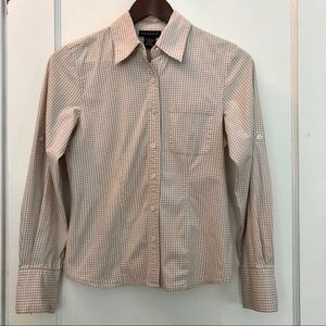 Rafaella beige white check long sleeve button down